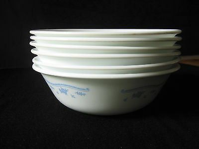 Corelle cereal bowls Set of 6 vintage Morning Blue pattern made in USA