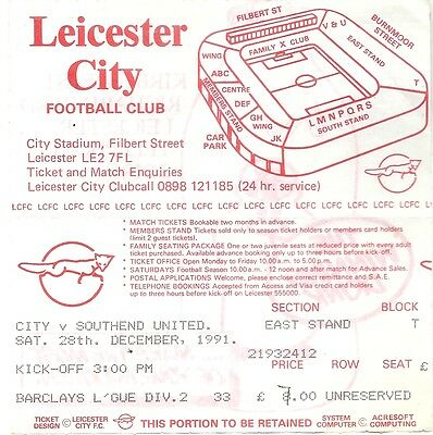 LEICESTER CITY v  SOUTHEND UNITED 28.12.91 LEAGUE DIV 2 USED TICKET STUB