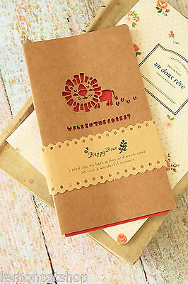 LION Kraft cut-out Walk in the Forest Greeting Card zakka cute love message card