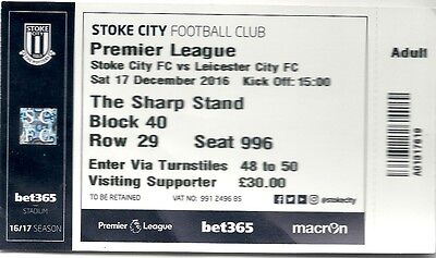 STOKE CITY v LEICESTER CITY 17.12.16 PREMIER LEAGUE USED TICKET STUB