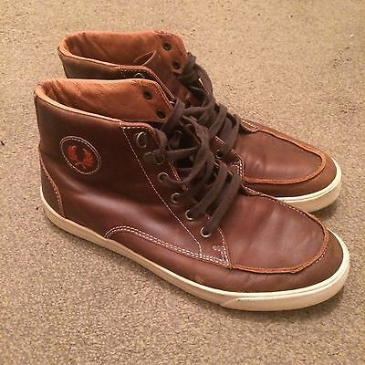 High Top Fred Perry Sneakers Brown Leather Look Trainers Size 8
