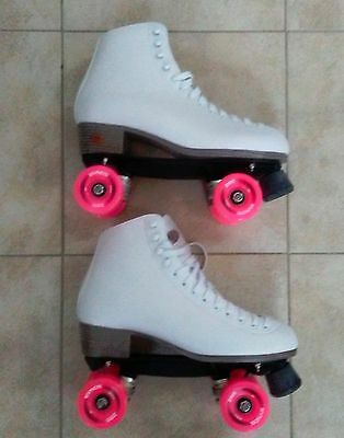 New! Riedell 111W White with Pink Wheels Women's Roller Skates - Size 11