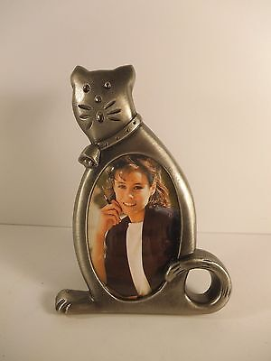 """Cat Picture Frame Silver Color Free Standing 4-3/4"""" Tall Animal Decoration"""