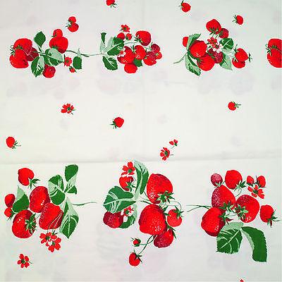 """Vintage Printed Wilendur Red Strawberry Pattern Tablecloth Fabric 65"""" x 55"""""""