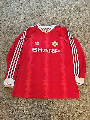 Manchester United Home 1990/92 Player Issue Match Worn Shirt Adidas Long Sleeve