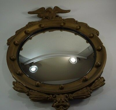 "Eagle CONVEX Mirror 29"" H x 20"" W Gold Federal Style Wood frame"