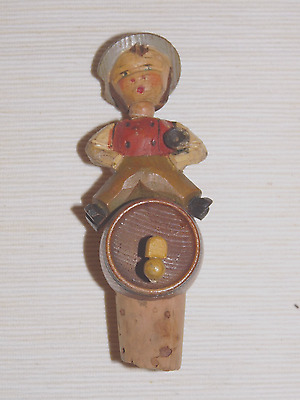 Anri carved, articulated  wooden bottle stopper- Boy on a barrel with trumpet