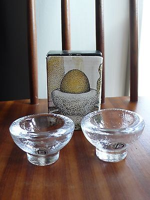 Vintage Two Dartington Handmade Crystal Egg Cups Frank Thrower boxed FT252