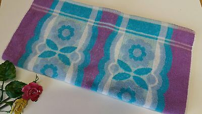 """Vintage Retro Horrockses Hand Towel Purple and Turquoise 18""""x 36"""" Ex Cond"""