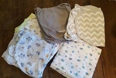 Four Swaddle Blankets & Receiving Blanket