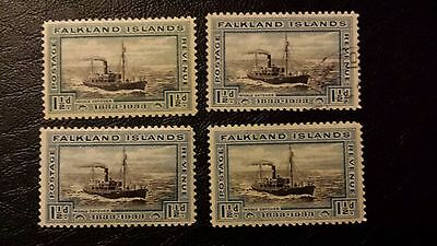 Falkland islands 1833  WHALE CATCHER 3 Stamps mint LH & one used HEIJTZ  cat £51