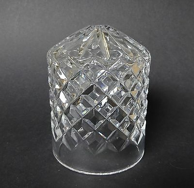 Vintage Antique Cut Crystal Cylindrical Glass Light Table Lamp Shade Cover