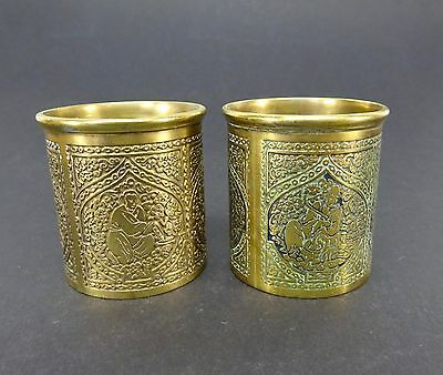 Pair Of Antique Kinco Brass Cups Holders Made In England Eastern Design