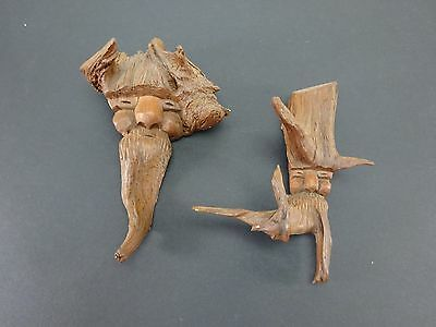 2x VINTAGE GERMAN TREE FACE FOLK ART WALL HANGING WOOD CARVING DECORETIVE WIZARD