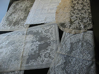 Lot Of 5 Antique and Vintage Filet Lace Runners, Roses, Doilies, Pillow Cover