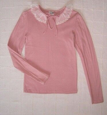 Vintage Ladybird Long Sleeve Top - Age 13 - Pink/Lace Collar- 100% Cotton - New