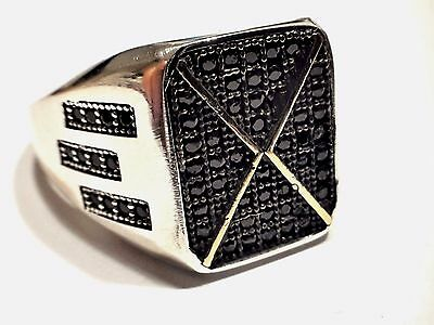 Turkish Ottoman Black Onyx 925 K Sterling Silver  Mens Ring S T085