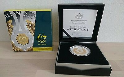 2016 Australian Olympic Team gold plated silver proof five dollar coin