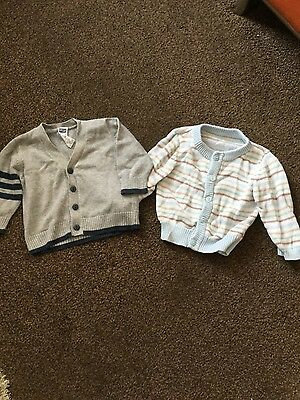 2 X BOYS KNITTED CARDIGANS AGE 3-6 MONTHS M&S + M&Co