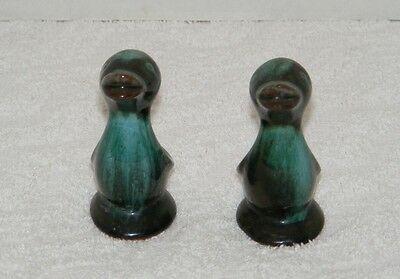 CANADIAN BLUE MOUNTAIN POTTERY SMALL GREEN & BLUE CLAY DUCK FIGURES SET of 2 EUC