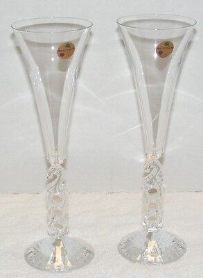 2000 MILLENNIUM CRISTAL D' ARQUES FRANCE CHAMPAGNE FLUTE GLASSES Set of 2 EUC