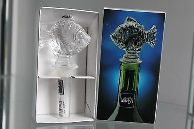 MIKASA Lead Crystal Fish Bottle Stopper Nature's Catch Boxed NEW