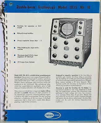 Vintage Catalogue - Cossor 1035, 1049 Oscilloscopes and photographic accessories