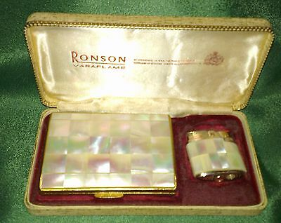 Vintage Ronson Mother of Pearl Lighter, Cigarette Case and pouch in original box