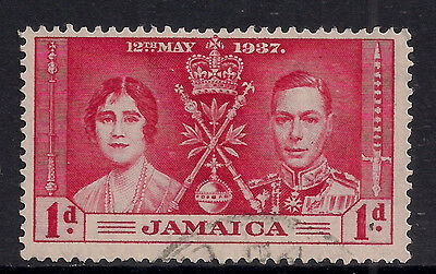 JAMAICA 1937 KGV1 1d CORONATION USED STAMP..( T784 )
