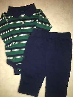 Baby Boys Size 0-3 Months Izod Two Piece Outfit Set Green Navy Blue White Stripe