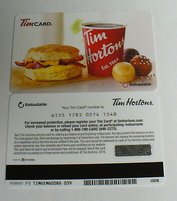 Tim Hortons Collector Gift Card  2016 Fd55337