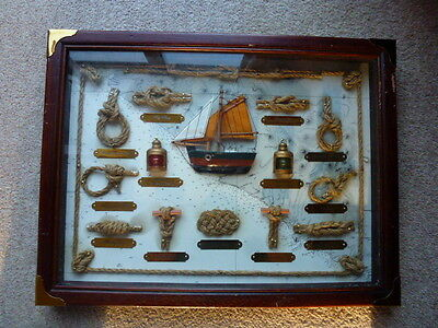 Nautical Maritime Display of Knots etc. in Shadow Box