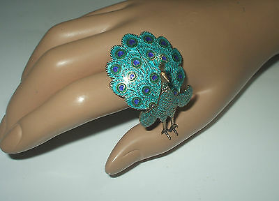 VINTAGE 1940's SIAM 925 SILVER GILT AND ENAMEL ARTICULATED PEACOCK BROOCH