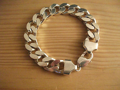Chunky.very Heavy Mans Or Lady's 925 Solid Silver Hallmarked Curb Link Bracelet.
