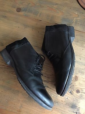 """Mens Fly London """"Peet Lace"""" Black Leather Boots Size 12"""