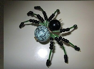 Spider Beaded ,green And Black  Handcrafted New Item  Multi Use