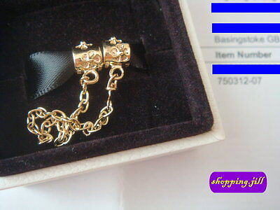 Receipt & Pandora Floral Daisy 14ct Gold Safety Chain 750312-07 with Gift Box