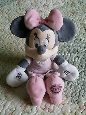 Disney Store Minnie Mouse Soft Plush Toy Pink & Grey Edition