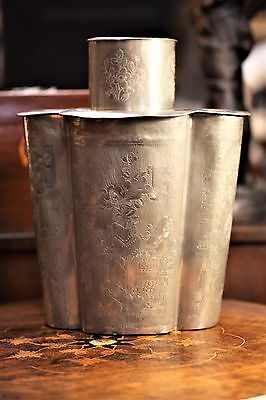19th century large Chinese Export Pewter Tea Caddy