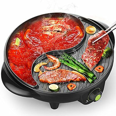 1600W 1.8L Liven Electric Smokeless BBQ Grill Wok Hot Pot Chafing Frying Pan