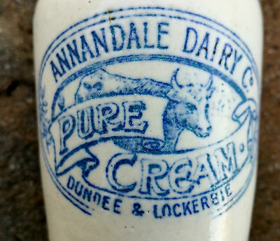 Annandale blue print Scottish dairy cream pot crock. Superb transfer