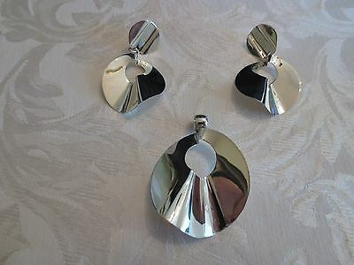 Taxco Mexico Silver Pendant and Earrings Set