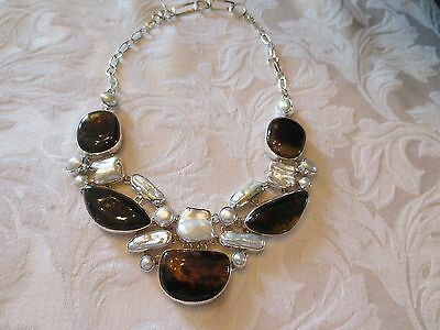 Taxco Mexico Silver Mother of Pearl and Amber Necklace