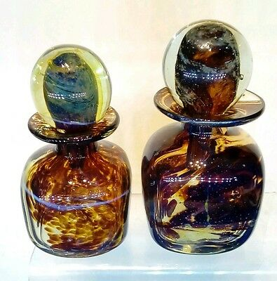 Two MDINA STUDIO GLASS PERFUME BOTTLE DECANTORS. Michael Harris links.