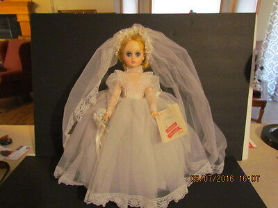 """17"""" Blonde Elise Bride by Madame Alexander in Original Box with Doll Stand!"""