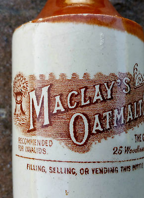 Superb sepia transfer Maclays oatmeal stout ginger beer bottle Globe Dunfermline