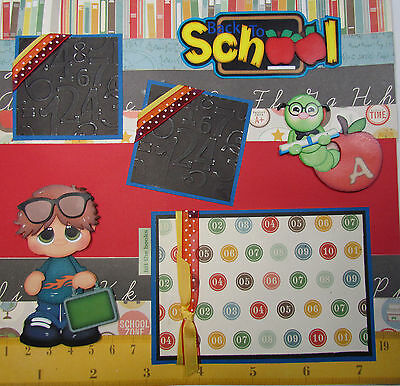 Back to School Premade Scrapbook Page Paper Piecing  2 - 12 x 12 pages