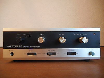 Vintage Lafayette LA-324A solid state stereo amplifier, 50-watt amp, with Manual