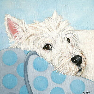 """West Highland Terrier WESTIE MATTED SQUARE PRINT  """"Watching You""""  RANDALL"""