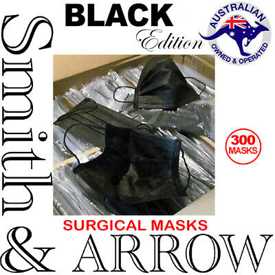300x BLACK DISPOSABLE FACE MASK SURGICAL EAR LOOP MEDICAL FLU DENTAL DUST DOCTOR